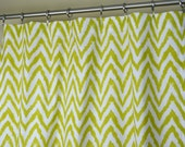 Artist Green White Ikat Chevron Zig Zag Curtains - Rod Pocket - 84 96 108 or 120 Long by 25 or 50 Wide - Optional Blackout or Cotton Lining