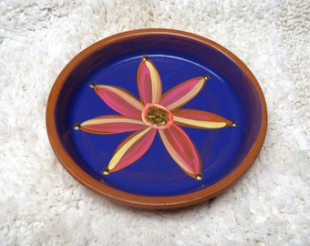 Large 6.5 inch Hand Painted Terra Cotta Dish in Deep Navy Purple with Pink Flower Perfect for Jewelry Keys and Change