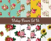 Vintage Floral Digital Paper with Roses and Sunflower Pattern for scrapobooking or paper crafts