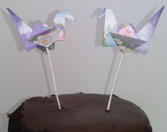 Origami Peace Crane Cake Toppers