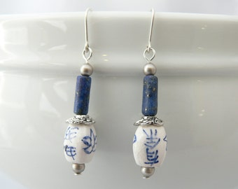 Ceramic earrings, Blue earrings, White earrings, Silver earrings, Blue dangle earrings, Lapis earrings, Antiqued earrings, Long earrings.