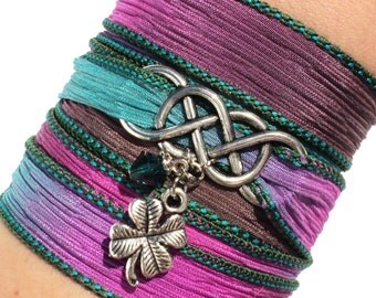 Infinity Silk Wrap Bracelet Yoga Jewelry Good Luck Eternity Love Unique Gift For Her Mothers Day Friendship Daughter Under 50 Item A29