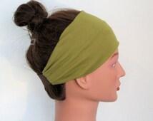 green Jersey yoga  Headband, T-Shirt Headband, wide Headband, exercise fitness Headband, green hairband, workout headband, turban, hair band