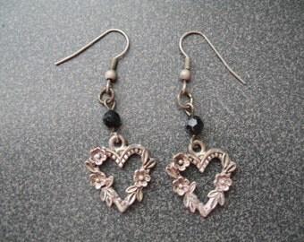 Vintage Silvertone Heart Dangle Earrings With Flower Design