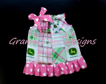 JOHN DEERE pillowcase dress patchwork  polka dot ruffle 0 3 6 9 12 18 months 2t 3t 4t 5t toddler  baby infant girl