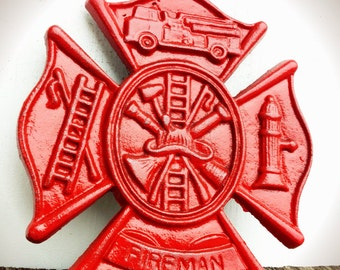 BOLD firefighter symbol Maltese cross sign // traditional fire engine red // shabby cottage chic rustic boys men's // man cave fireman art