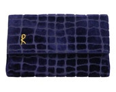 SALE - 30% Roberta di Camerino Rare 1960s 1970s Vintage Velvet Evening Bag Clutch Handbag Purse Purple Gold-Tone Metal Chain