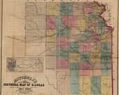 1859 Map of Kansas DIGITAL DOWNLOAD Mitchell's Map of Kansas - Very Early Kansas Map