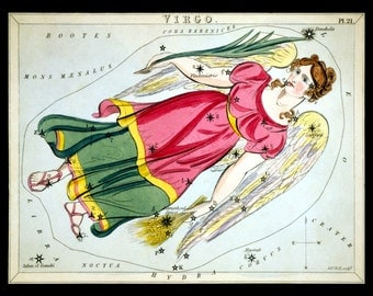 VIRGO August September Constellation ZODIAC Star Chart ASTRONOMY Astrology Digitally Remastered Fine Art Print / Poster
