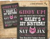 Cowgirl invitation - Cowgirl birthday invite - Western invitation - Chalkboard cowgirl printable invitation