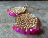 Hot pink chalcedony drops.
