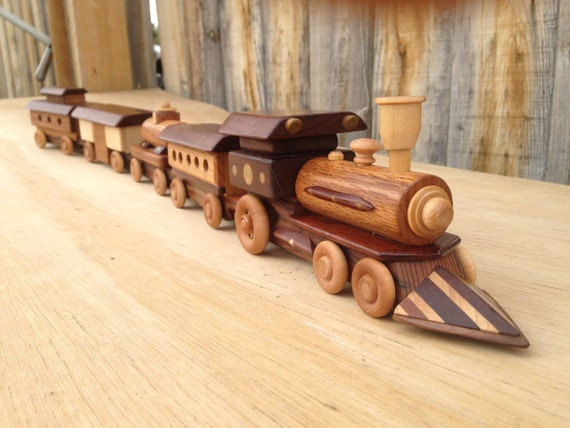 Wooden Toy Trains : Wooden toy train with locomotive steam engine pc t
