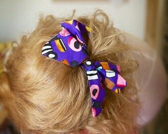 Small Purple Liquorice Allsorts Hair Bow