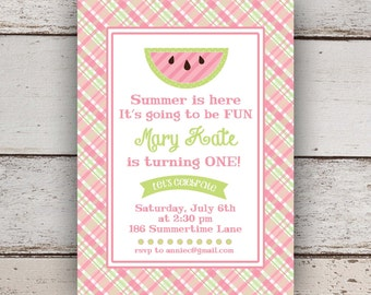 Plaid Watermelon Invitation (First Birthday, summertime party, pool party)