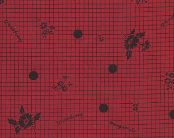 Marguerite Grid in Red by Suzuko Koseki for  Yuwa of Japan