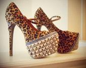 Leopard Rockabilly Platform Pumps Heels