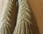 Handknit  cable women woollen leg warmers mustard