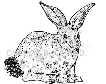 "Rabbit Art, Rabbit Drawing, Black and White Art, Pen and Ink Rabbit, Pen and Ink Art, Pattern Art, 4"" x 6"" Art Print, Print, Pen Drawing"