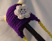 MN Vikings Earflap Hat - (specify size - available with or without the flower) **CUSTOM ORDER**