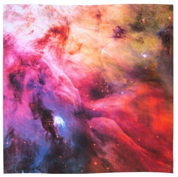 Astronomy Fabric Orion Nebula 17 x 17 inch on Cotton Sateen Fabric