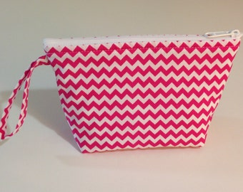 Pink Chevron Make Up Bag  - Accessory - Cosmetic Bag - Gift