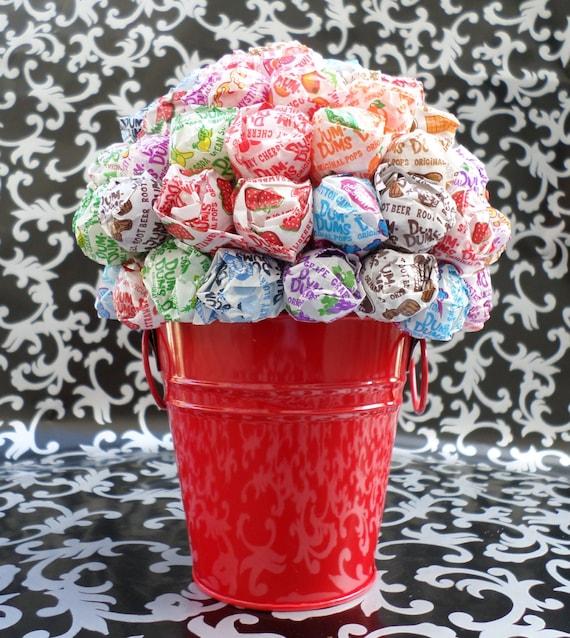 Red dum lollipop bouquet topiary tree centerpiece