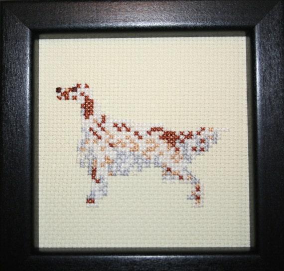English Setter Orange Cross Stitched Full Body Dog.