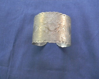 Vintage silverplate on Copper cuff Bracelet