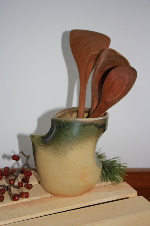 Cream yellow and green ceramic vase abstract clay vessel - Unique kitchen utensil holder ...