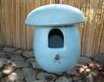 Handmade Pottery Birdhouse in Light Blue