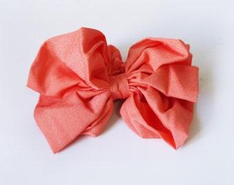 SALE 50% OFF Peach Bow Hair Scrunchie Ponytail Holder
