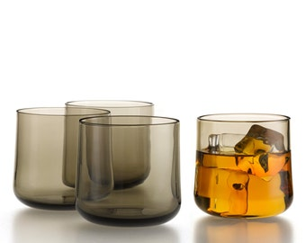 Hand Blown Glass Whiskey Glasses in Smoke color
