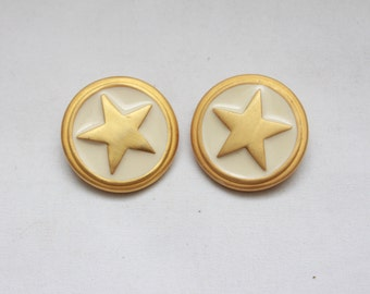"80's Vintage ""DISTANT STAR"" Large Fancy Clip-On  Earrings"