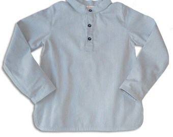 Boys Shirt Blue Lightweight Corduroy Monk Collar
