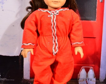 American Girl Style red flannel one piece footed pajamas.  Perfect for the holidays!