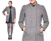 Vintage 1960s TWEED coat // SMALL puffy sleeve wool winter jacket // xs 60s PETITE gray hidden buttons Jill Jr short coat