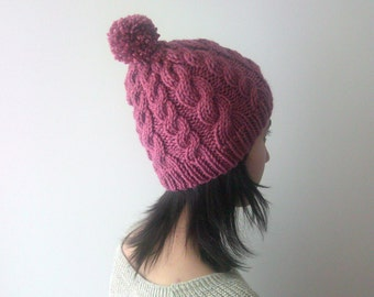 Chunky Cable Beanie in Light Dry Rose, Knit Hat with Pom Pom, Womens Knit Hat, Wool Blend, Winter Accessories, Seamless, Ready to Ship