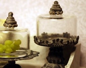 Tall zinc stand with bell jar, dollhouse miniature, scale 1:12