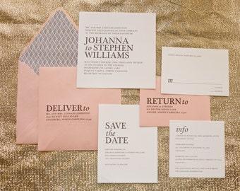 Modern Wedding Invitation, Blush Wedding Invitation, Simple Wedding Invitation