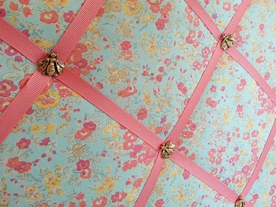 Liberty Fabric Covered Bulletin Board Memory Board Ribbon
