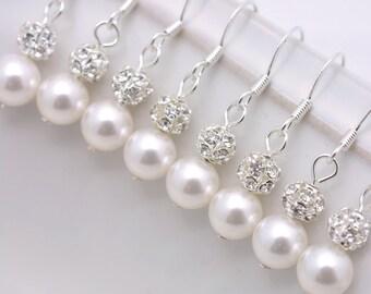 10 Pairs Bridesmaid Earrings, 10 Pairs Pearl Earrings, Pearl and Rhinestone Earrings, Crystal and Pearl Earrings, 10 Bridesmaid Gifts 0061