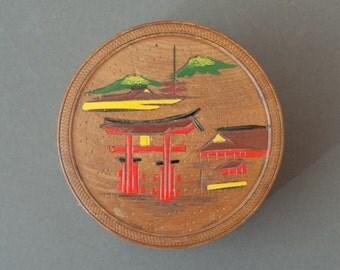 Set of vintage wooden coasters, Japan, handpainted, mid century, asian, chinoiserie, wood coaster