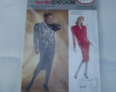 80s Big Shoulders Dress PATTERN Burda 5874 Uncut 10 12 14 16 18 20