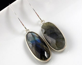 Labradorite Tear Drop Dangle Earrings  // Sterling Silver Findings // Long Sterling Ear Wires //  Simple Design