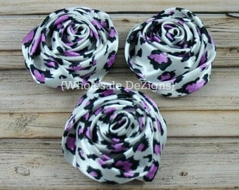 "Pink Cheetah Satin Rolled Rosette Flowers - 2"" - Set of 3 - Pink Leopard Animal Print"