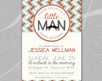 LITTLE MAN - Mustaches - Baby Shower Invitation - Printable