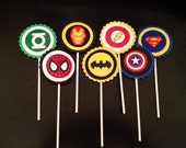 Superhero Cupcake Toppers Batman Superman Spiderman Iron Man Green Lantern Captain America The Flash Flash Gordon