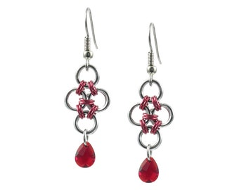 Red Crystal Chain Mail Earrings