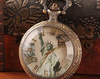 1pcs 48mmx48mm Bronze  Glass Cover pocket watch charms pendant PW186
