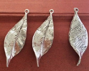 15PCS 47 x 16MM  Leaf Charms - antique silver Charm Pendant